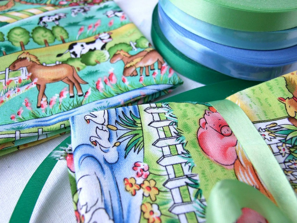Children's fabric, patterns, farm animals, ribbon, Morecambe